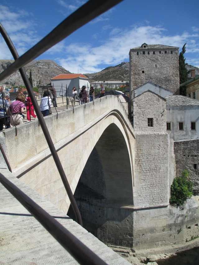 approaching Mostar's restored Old Bridge