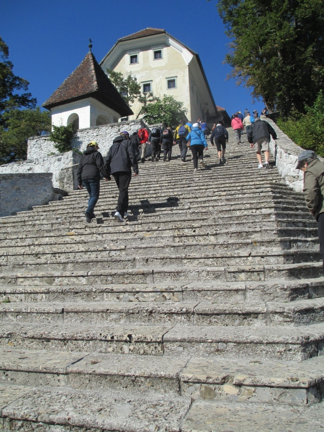 99 steps to Lake Bled church