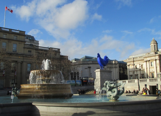 blue rooster in Trafalgar Square