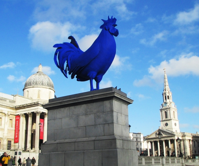 blue rooster on fourth plinth