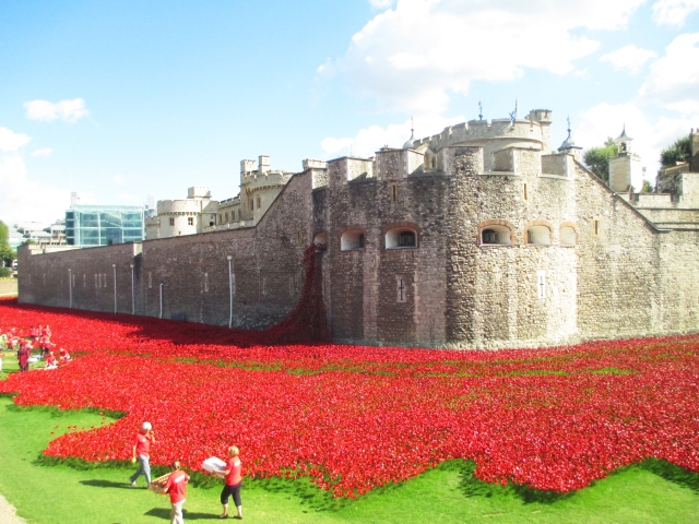 blood red cascading down the Tower wall