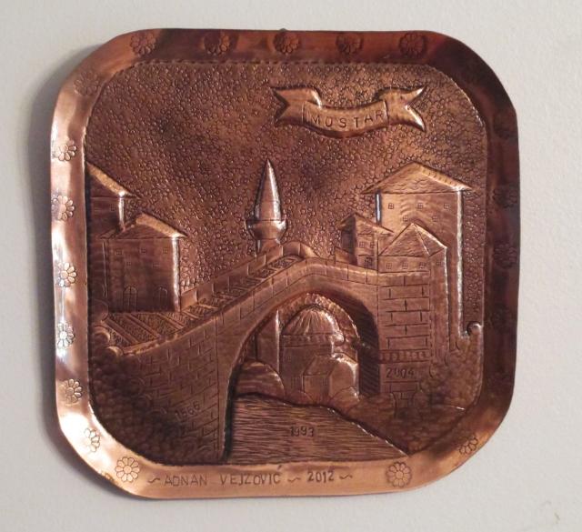 Copper plaque of Mostar's bridge by Adnan